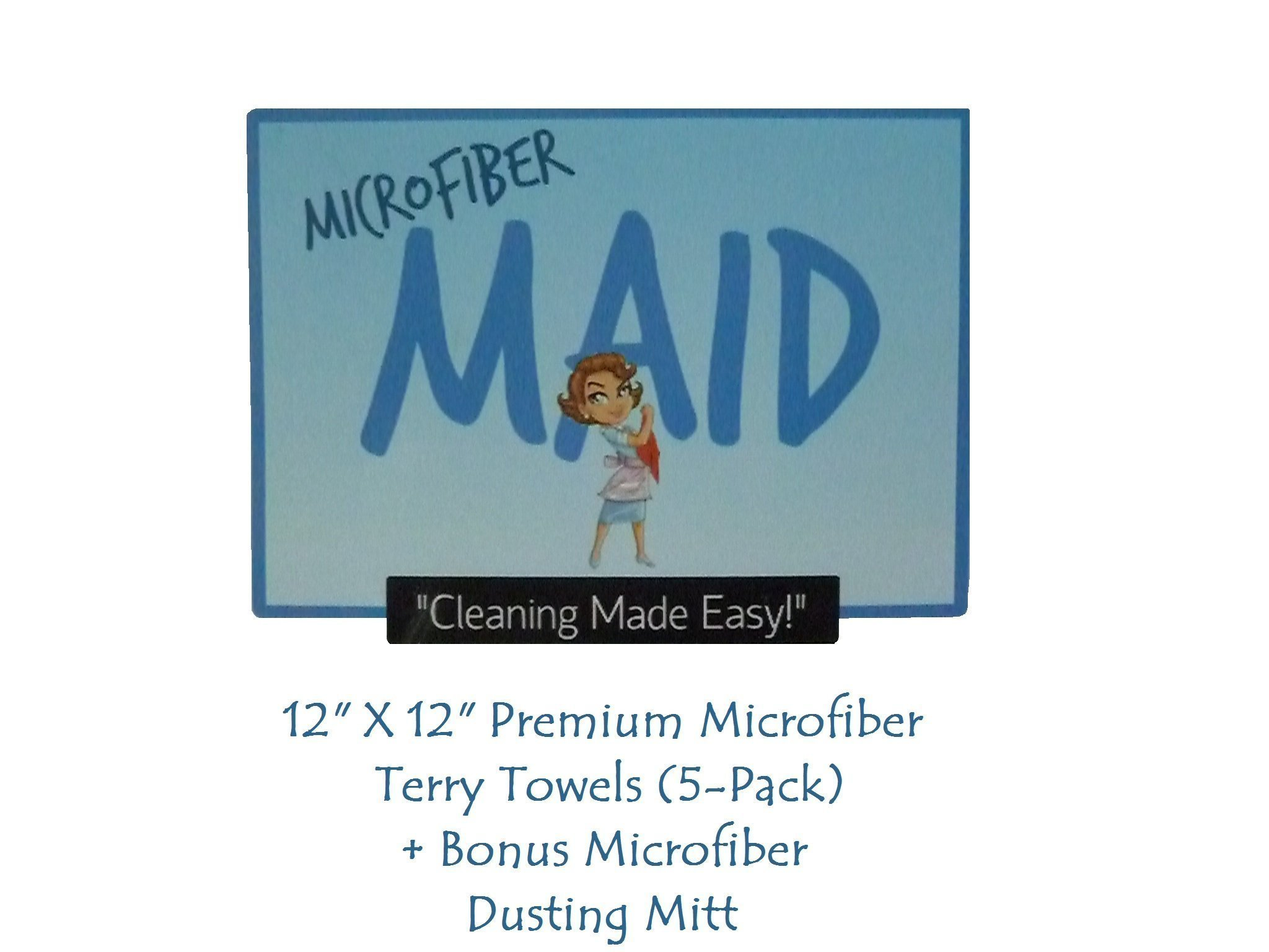 Microfiber Maid Cleaning Cloths, Quality Lint Free Terry Towels for Easy Clean Up! Premium Split Microfiber Saves Time and Offers a Smarter and Healthier Green Solution with Fewer or No Chemicals! For a Limited Time Get a Free Bonus Dusting Mitt!