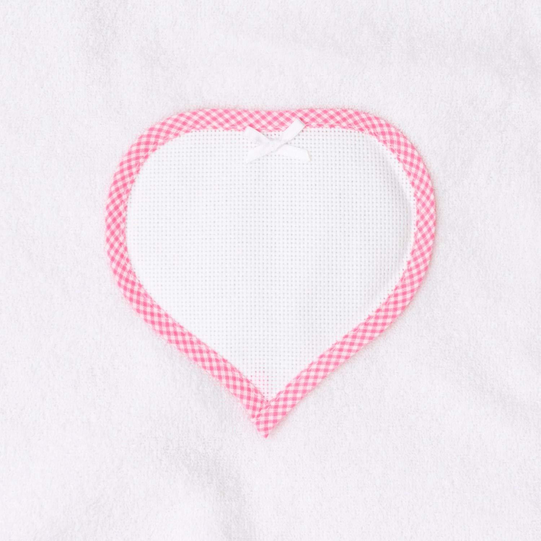 Red con bolsillo en forma de coraz/ón de tela Aida para bordar Albornoz triangular para reci/én nacidos y primera infancia rosa color blanco