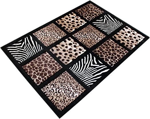 Modern Area Rug Animal Prints 5 Ft. 2 in. X 7 Ft. 3 in. Design S 251 Black