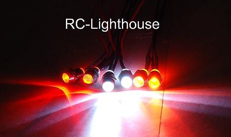 2 white 2 red LED headlight rear light kit for RC car truck C6X5