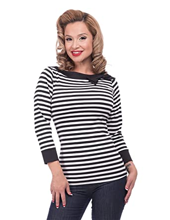 75820b3b498e25 Black and White Striped Boatneck Bow Top by Steady - Vintage Inspired at Hey  Viv (