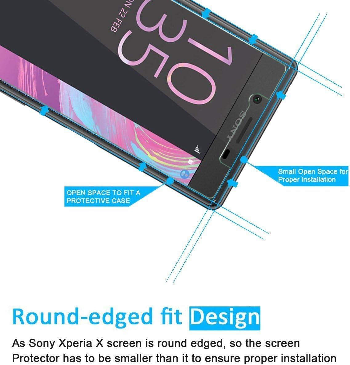Ultra Mince Ultra R/ésistant Protection en Verre Tremp/é /Écran pour Sony Xperia X Duret/é 9H GIMTON Verre Tremp/é pour Sony Xperia X 1 Pi/èces