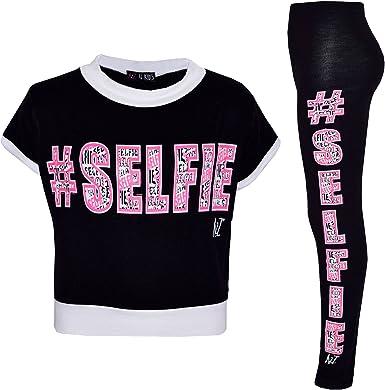 Kids Girls Legging Selfie Graffiti Print Stylish Fashion Leggings Age 7-13 Years
