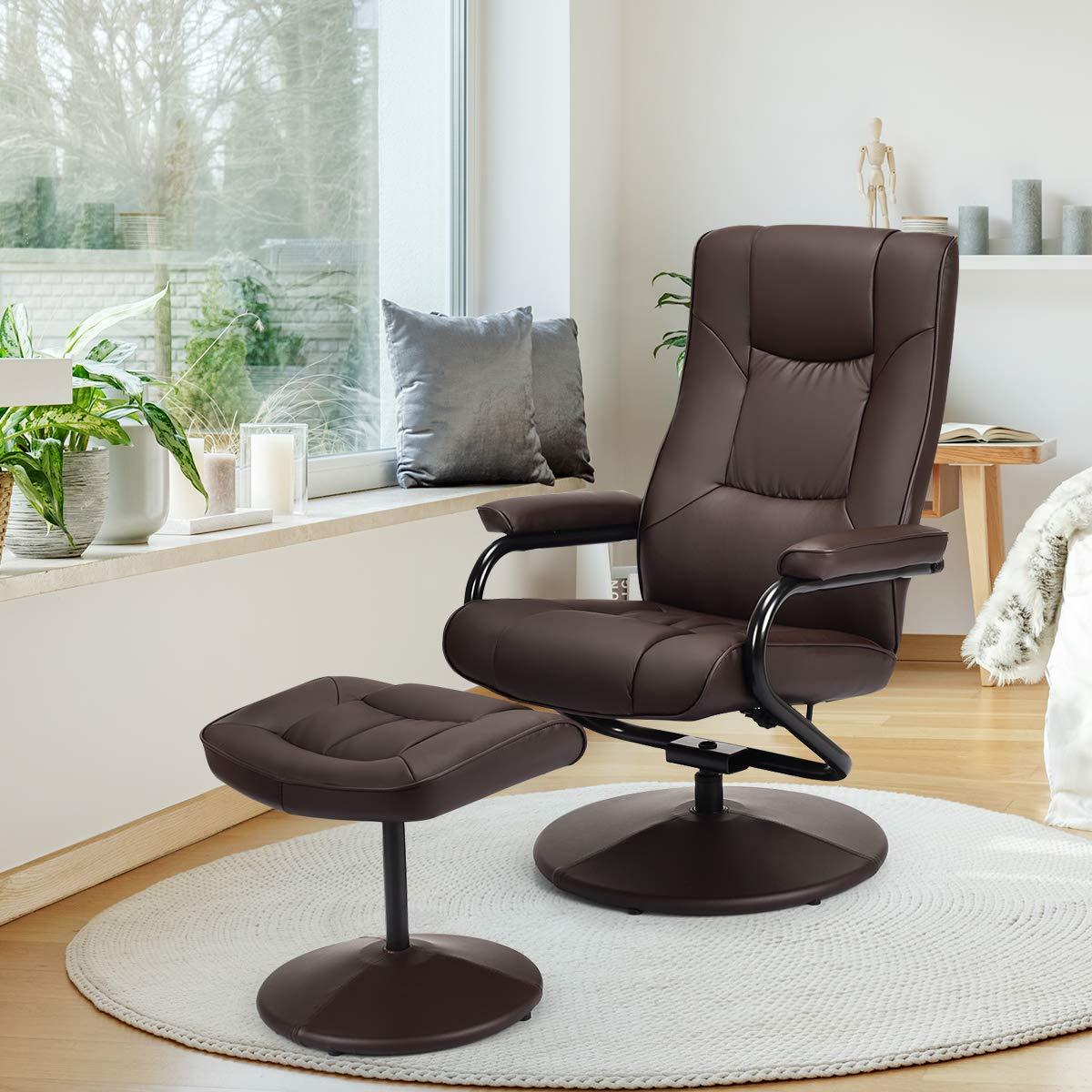 Giantex Swivel Recliner Chair w/Ottoman, 360 Degree Swivel PU Leather Chair w/Footrest, Lounge Armchair w/Overstuffed Padded Seat and Leather Wrapped Base, for Home Office Living Room(Brown) by Giantex
