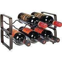 mDesign Estante de metal para vino, organizador de almacenamiento, 3 botellas cada uno, Bronce, Paquete con 2