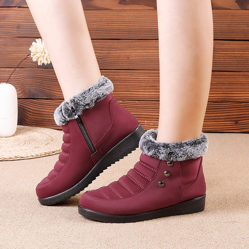 Toimothcn Women Winter Snow Boots Fur Lined Warm Ankle Bootie Outdoor Windproof Comfortable Shoes