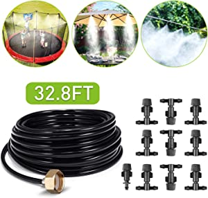 Misting Cooling System Outdoor Misters Automatic Plant Watering System 8x5MM 32.8FT (10M) Misting Line 10 Mist Nozzles 3/4 Inch Brass Threaded Adapter for Patio Garden Greenhouse Umbrellas Trampoline