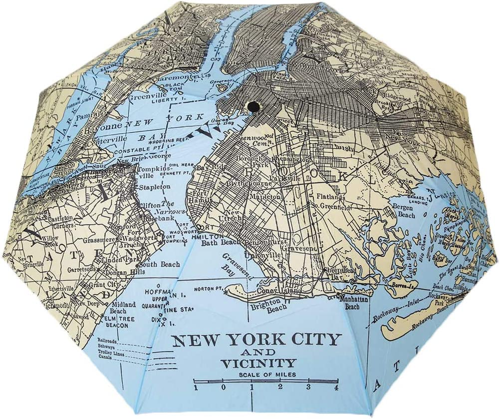 New York Vintage Map Auto Open//Close 42 Compact Umbrella