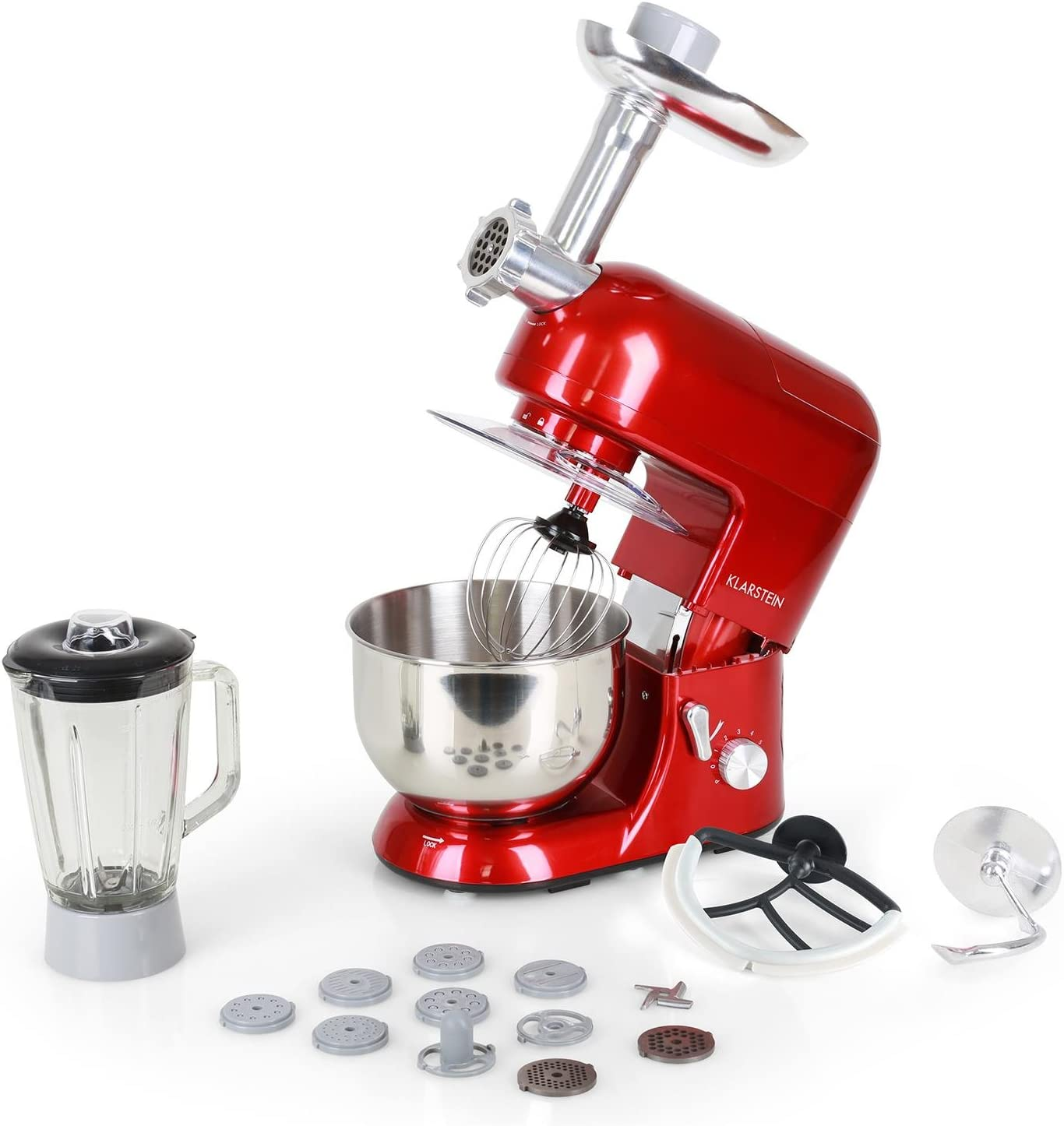 Klarstein Lucia Rossa 1200W 5L Rojo - Robot de cocina (5 L, Rojo, 1,5 L, Acero inoxidable, 1200 W, 230 mm): Amazon.es: Hogar