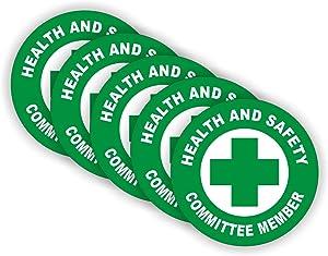 (5) Health & Safety Committee Hard Hat Stickers | Officer Helmet Decals | Durable Safe Vinyl Label Team Member