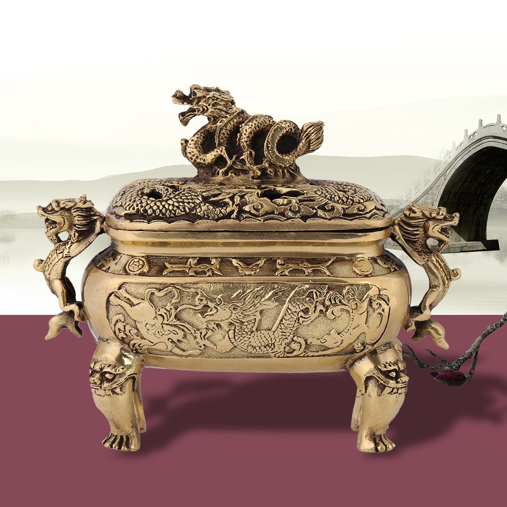 Antique Bronze Copper Chinese Dragon Incense Burner Holder with Lid Home Decoration
