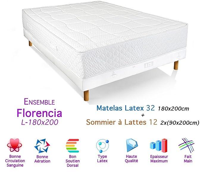 Conjunto de somier Florencia Colchón látex 32/12, 180 x 200 cm: Amazon.es: Hogar