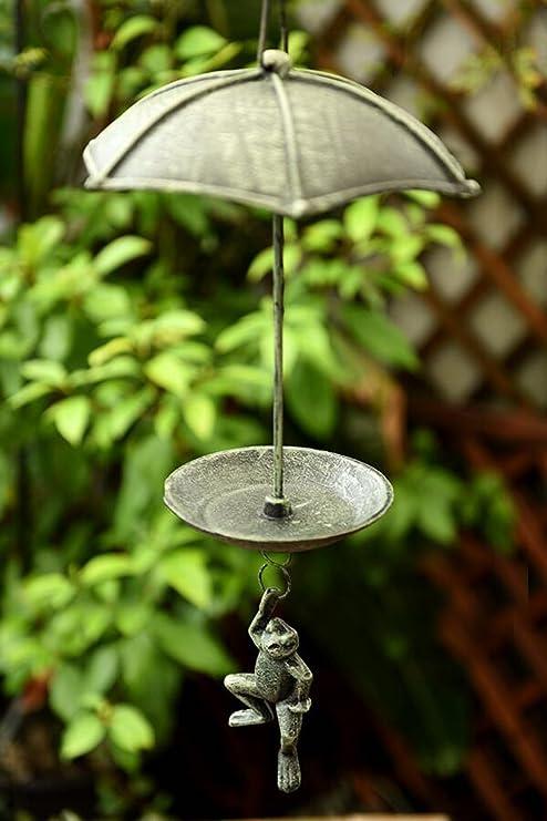 Bon Sungmor Heavy Duty Cast Iron Hanging Bird Feeder,Garden Decorative Hanging  Parachute Frog,Indoor