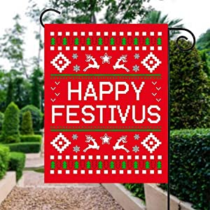 VinMea Happy Festivus , Polyester Garden Flag House Banner 28 X 40 Inch, Two Sided Welcome Yard Decoration Flag for Party, Home Decoration, Car