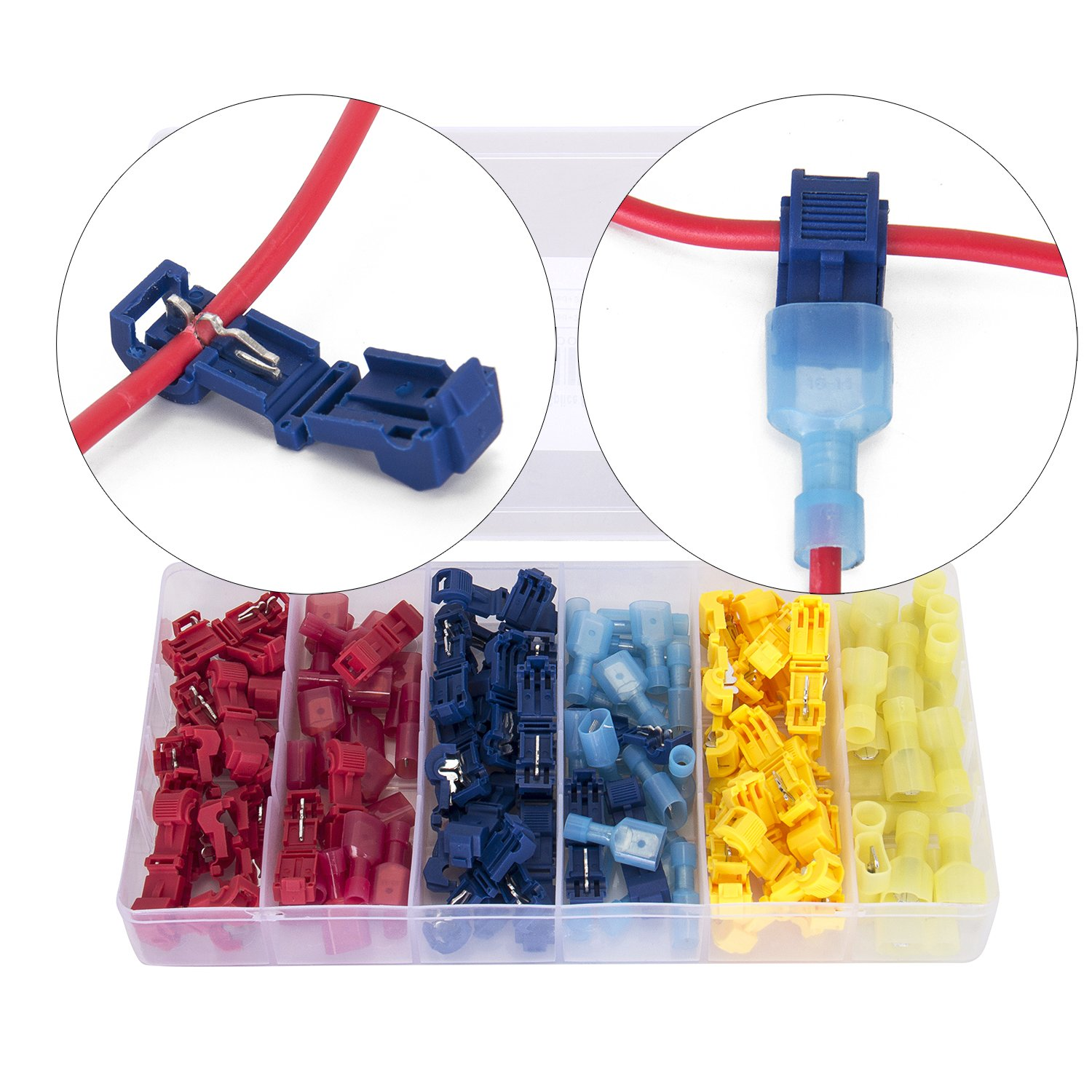 Ginsco 120 Pcs/60 Pairs Quick Splice Wire Terminals T-Tap Self-stripping with Nylon Fully Insulated Male Quick Disconnects Kit