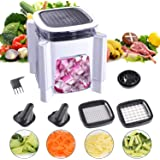 Fun Life Food Chopper 4-Blade Vegetable Slicer for Veggie Onion Chopper with Spiral Vegetable Slicers Mandoline 4 Interchangeable Safe Blades Food Container & Cleaning Brush, Food Dicers (Black)
