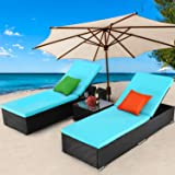 TUSY 3 Pieces Patio Chaise Lounge Sets, Outdoor Rattan Lounge Chairs with Coffee Table, Adjustable Back, Rattan Furniture and
