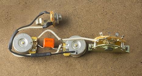amazon com fender telecaster wiring harness for fender tele cts fender telecaster output jack fender telecaster wiring harness for fender tele cts orange drop switchcraft