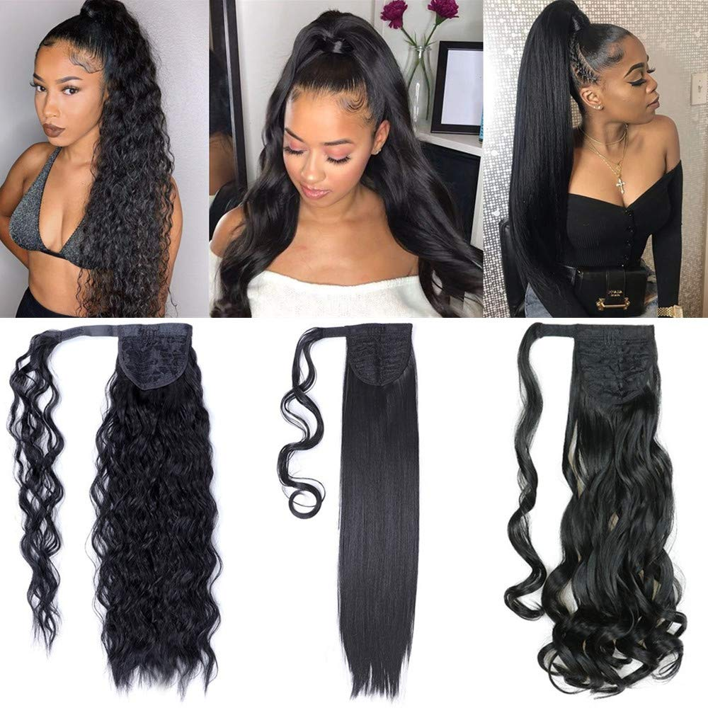 3 Pack Long Ponytail Extension 22 Inch Wrap Around Black Synthetic Ponytail Magic Paste Ponytail Hairpiece for Women (Straight+Corn Wave+Curly Wave) by YMHPRIDE