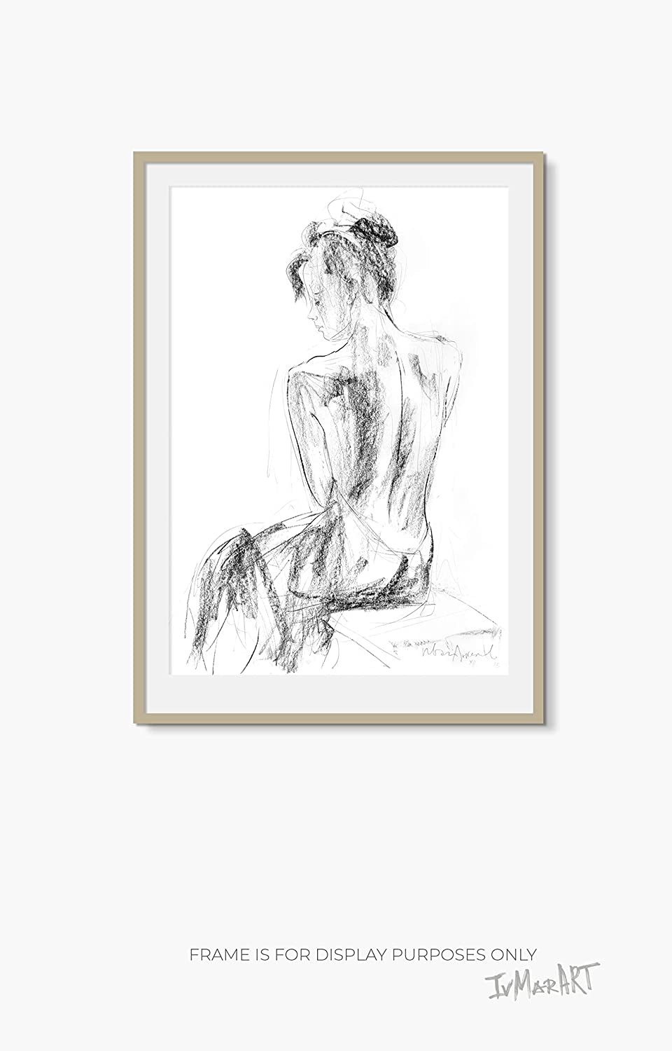 Amazon com woman drawing print charcoal sketch wall décor female figure fine art reproduction handmade