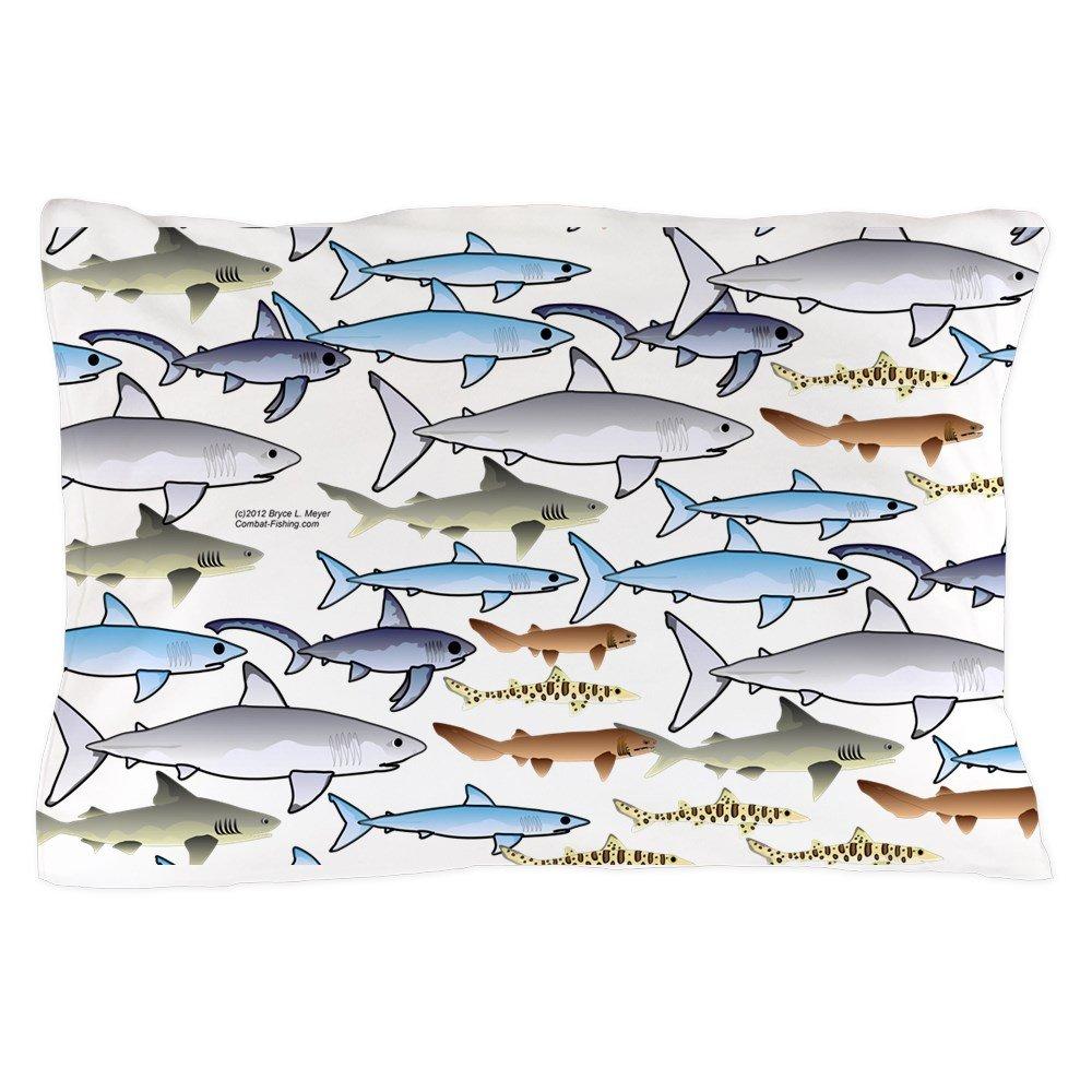 CafePress - School of Sharks 1 Pillow Case - Standard Size Pillow Case, 20''x30'' Pillow Cover, Unique Pillow Slip