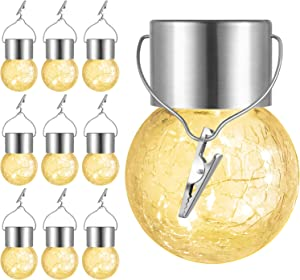 10-Pack Hanging Solar Lights Outdoor, Decorative Cracked Glass Ball Light, Solar Powered Globe Light Outdoor Waterproof with Handle for Garden, Yard, Patio, Tree, Holiday Decoration, Warm White