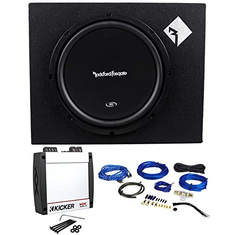 "Rockford Fosgate R1-1X12 12"" 400W Car Subwoofer+Sub Box+Kicker Amplifier"