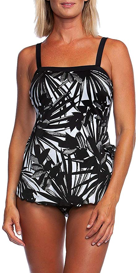 e0cd3584a4 Maxine Of Hollywood Women's Bandeau Sarong One Piece Swimsuit at Amazon  Women's Clothing store: