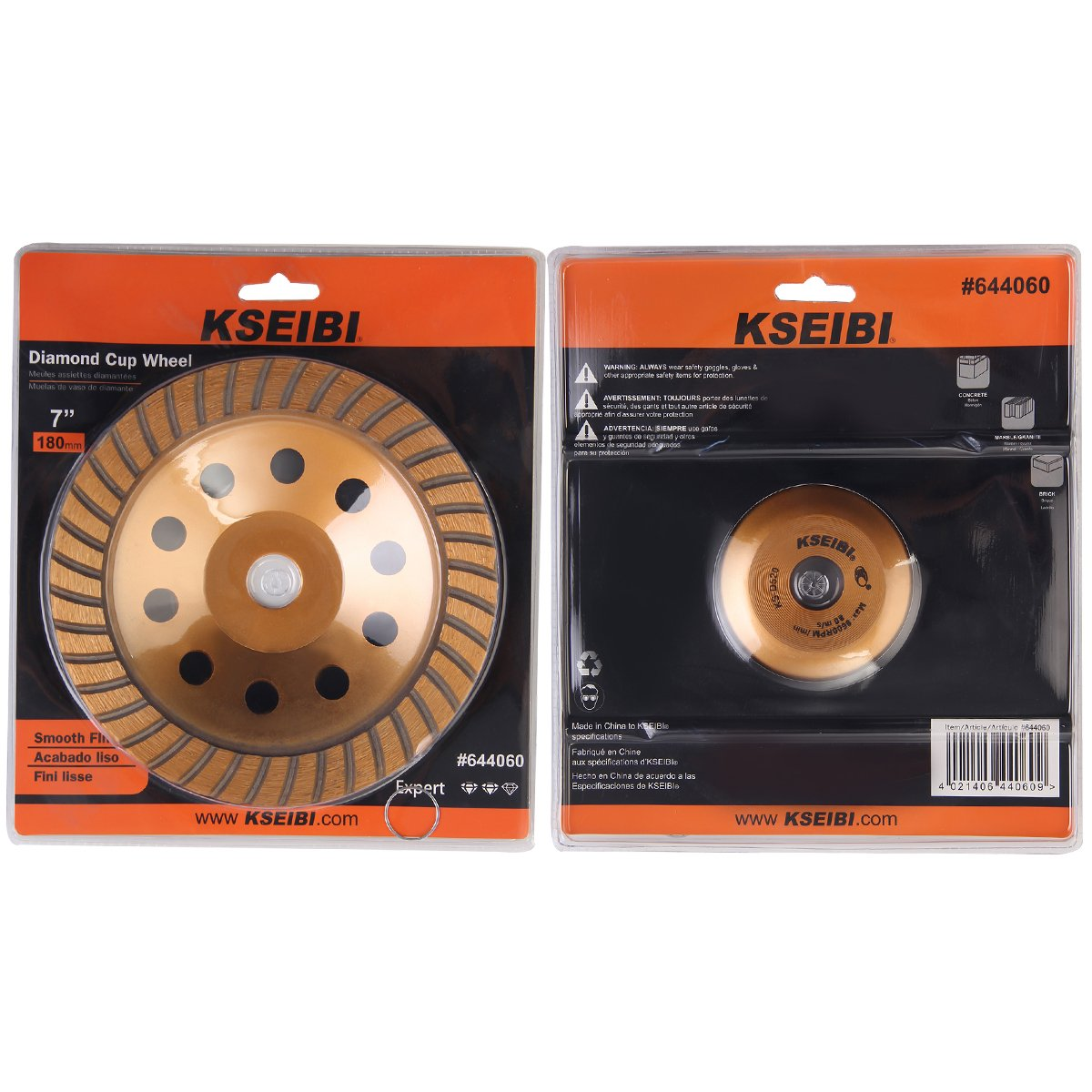 KSEIBI 644060 Super Turbo Diamond Cup wheel 7 Inch (180 mm) With Reduced Ring by KSEIBI (Image #9)
