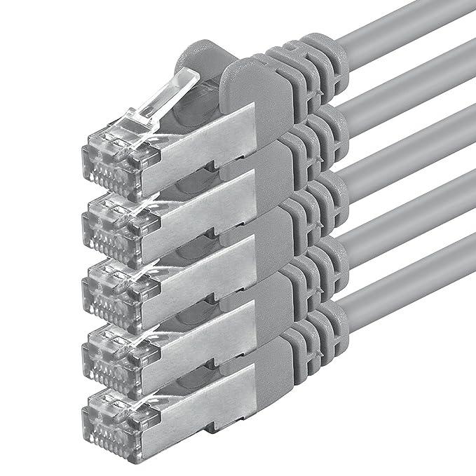 3 opinioni per 1m- gris- 5 pièces- CAT5 SF/UTP Câble Ethernet Set- Câble Réseau RJ45 | câble de
