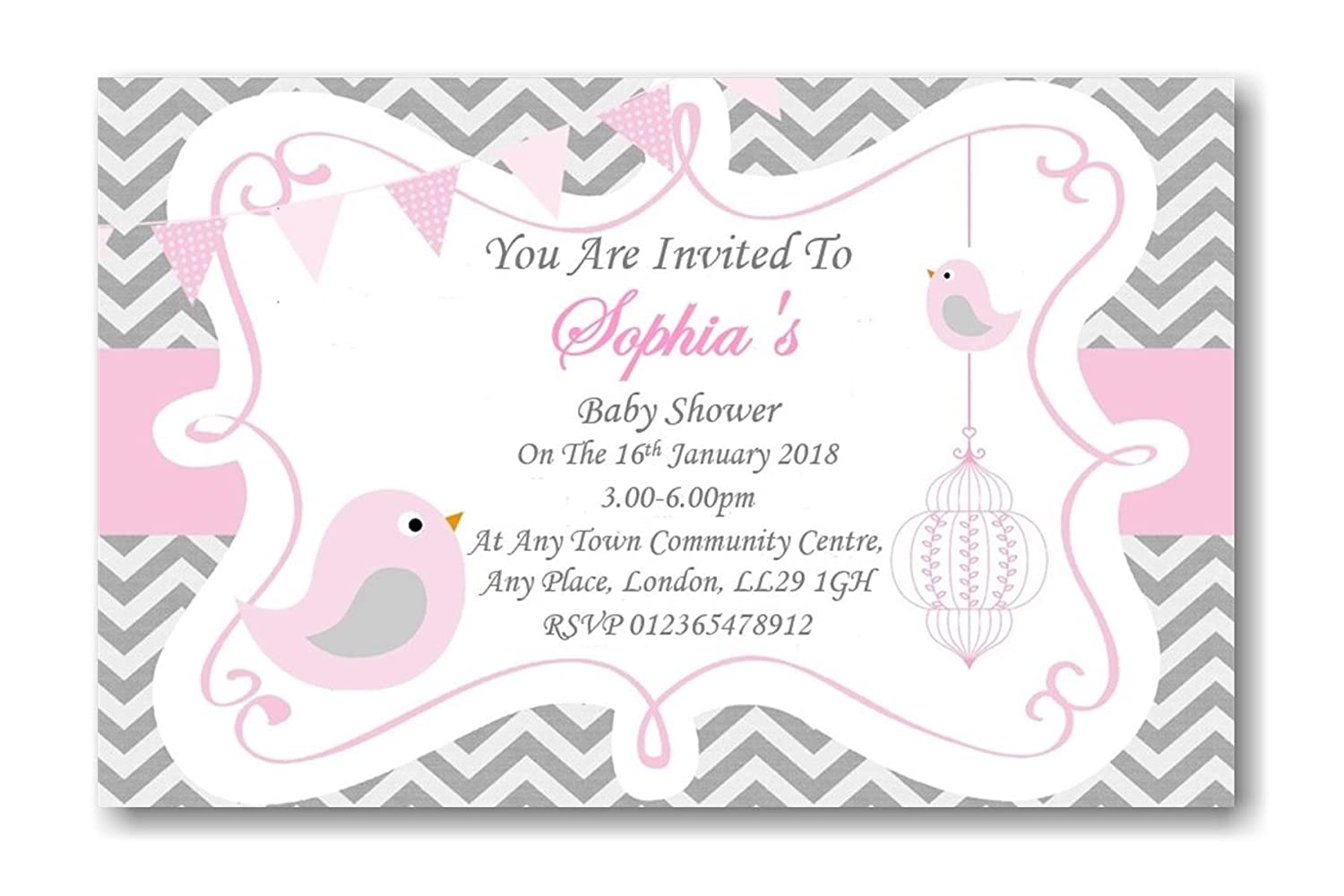 40 Personalised Baby Shower Invitations / Invites With Envelopes Pink grey FREE P&P Bespoke Candy Delights