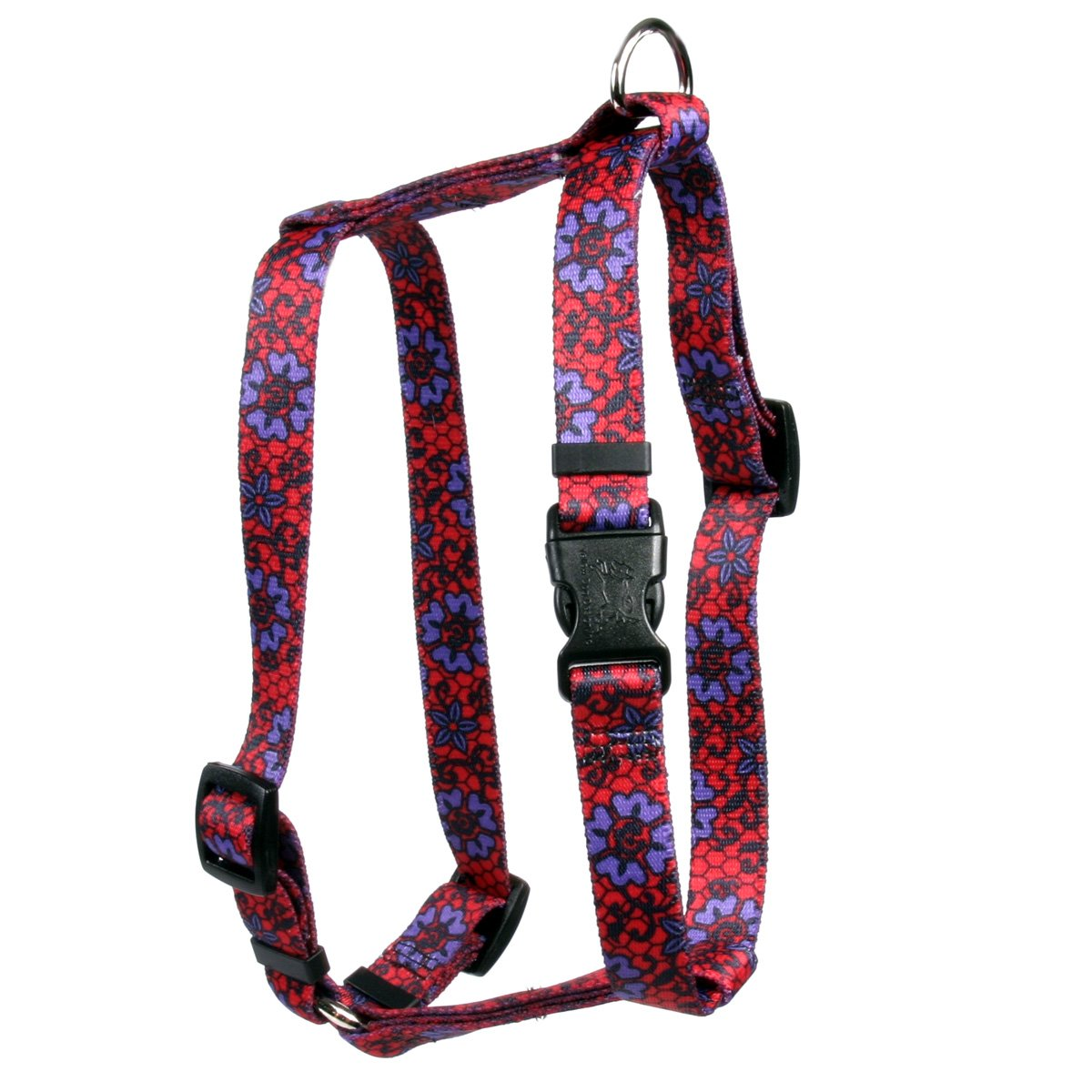 Yellow Dog Design Red Lace Flowers Roman Style H Dog Harness, Large-1'' Wide and fits Chest of 20 to 28''