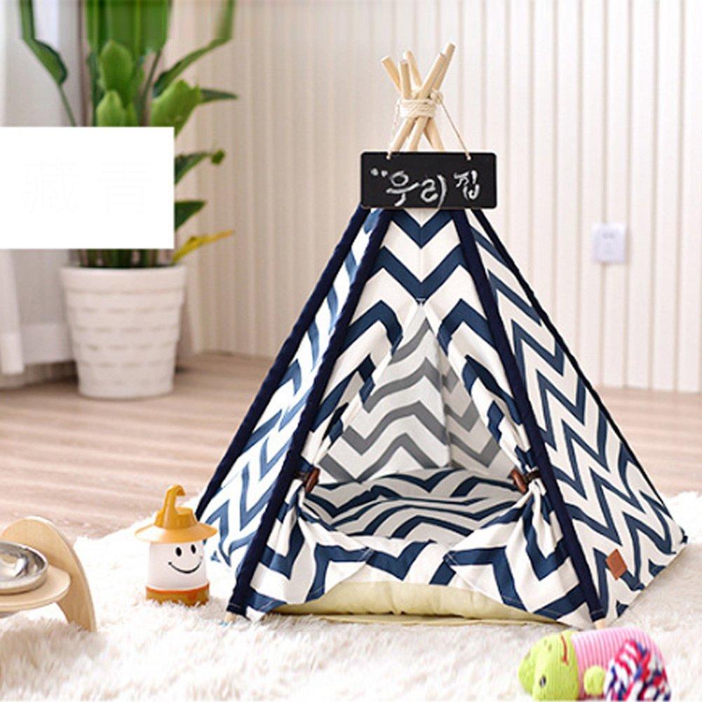 ペット テント,猫犬用品テント型犬小屋猫トイレ猫デラックスな家具インテリアの厚いマットレス ペット犬のクレート-青 60x60x70cm(24x24x28inch) B07D1LQL6F 16163 60x60x70cm(24x24x28inch)|青 青 60x60x70cm(24x24x28inch)