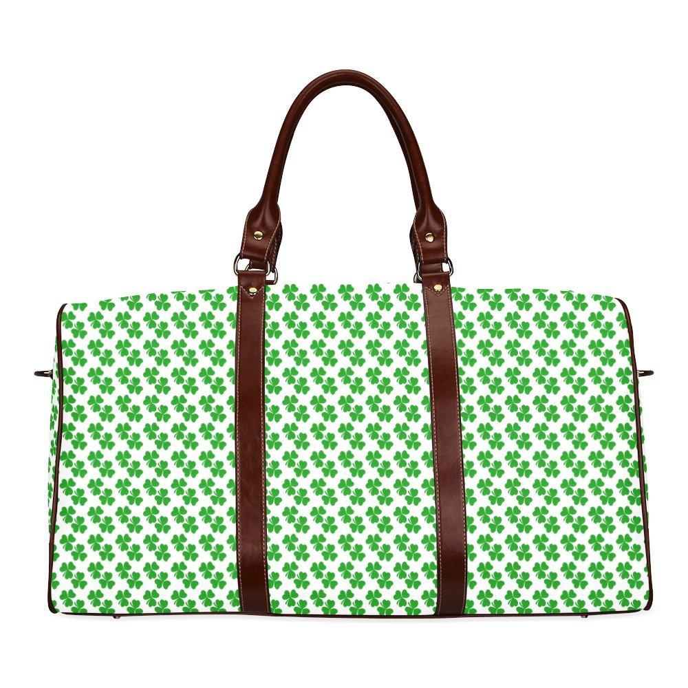 Tiny Shamrocks Irish 3-Leaved Clovers Custom Waterproof Travel Tote Bag Duffel Bag Crossbody Luggage handbag