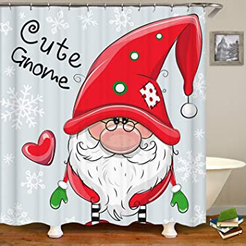 SARA NELL Christmas Cartoon Gnome Blue Snowflakes Shower CurtainWaterproof Mildew Resistant Polyester Fabric