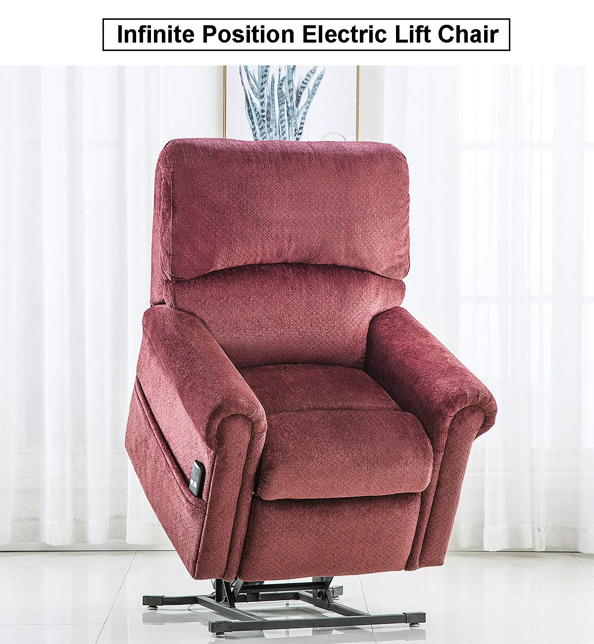 Electric Lift Chair 380 LB Heavy Duty,JULYFOX Infinite Position Oversize Lift Recliner Sofa Lifts You Up W 2 Button Remote Upholstered Tufted Velvet Stand Up Lift Chair Living Room Chair Wine Red