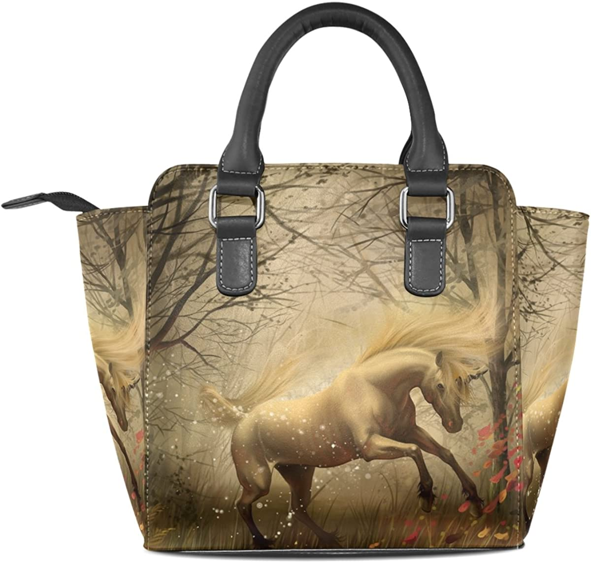 Jennifer PU Leather Top-Handle Handbags Unicorn In Forest Single-Shoulder Tote Crossbody Bag Messenger Bags For Women