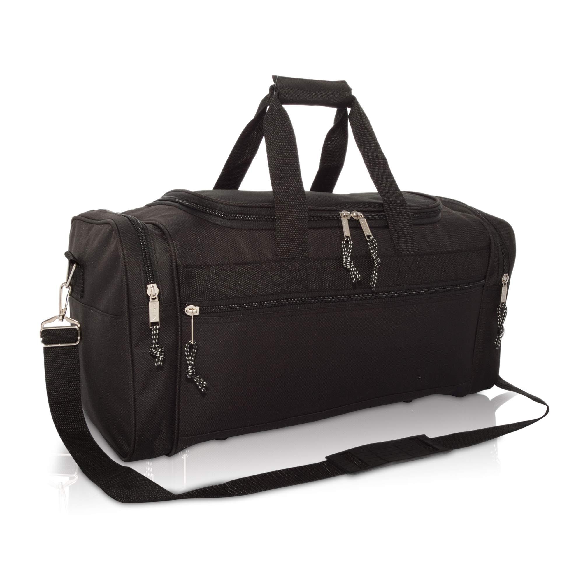 DALIX 21'' Blank Sports Duffle Bag Gym Bag Travel Duffel Adjustable Strap in Black