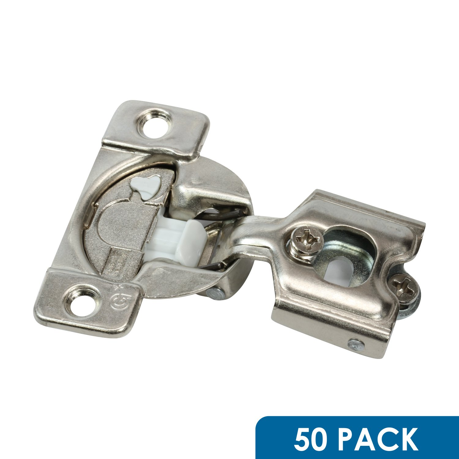 50 Pack Rok Hardware Grass TEC 864 108 Degree 1/2'' Overlay Custom 3 Level Soft Close Screw On Compact Cabinet Hinge 04431A-15 3-Way Adjustment 45mm Boring Pattern