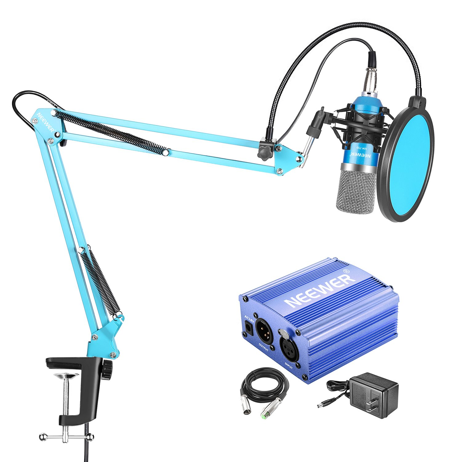 Neewer NW-700 Blue Professional Condenser Microphone & NW-35 Blue Suspension Boom Scissor Arm Stand with XLR Cable and Mounting Clamp & NW-3 Pop Filter & 48V Phantom Power Supply with Adapter Kit 40091851@@##1