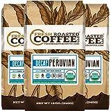 Organic Peruvian Water Processed Decaf Coffee, Bird Friendly, Fair Trade, 12 oz. Whole Bean Bags, Fresh Roasted Coffee LLC. (3 Pack)