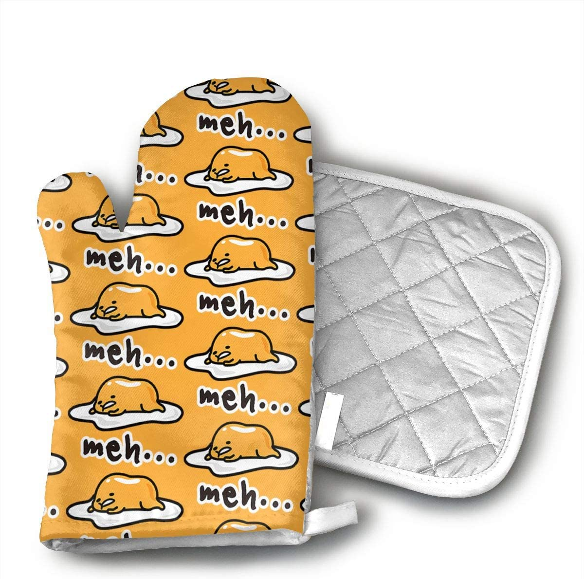 KEIOO Gudetama Cute Oven Mitts and Potholders Heat Resistant Set of 2 Kitchen Set Non-Slip Grip Oven Gloves BBQ Cooking Baking Grilling