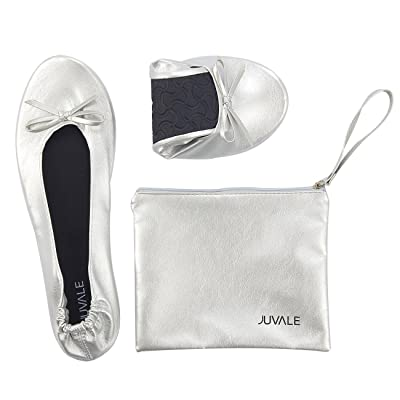 Juvale Foldable Ballet Flats - Women's Portable Ballerina Roll up Shoes with Matching Carrying Pouch for Travel, Silver | Flats