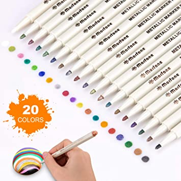 Lineon 16 Colors Fine Tip Paint Pens with 2 Stencils for DIY Craft Photo Album Rock Art Painting Card Making Glass Wood 18 Pack Metallic Marker Pens