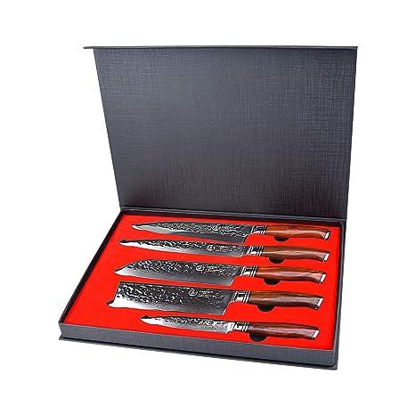 YARENH Cuchillo de Cocina Profesional,Set Cuchillos Cocina de Acero Damasco Japones con 5 Piezas,Mango de Madera Dalbergia,Cuchillos de Chef Marcas ...