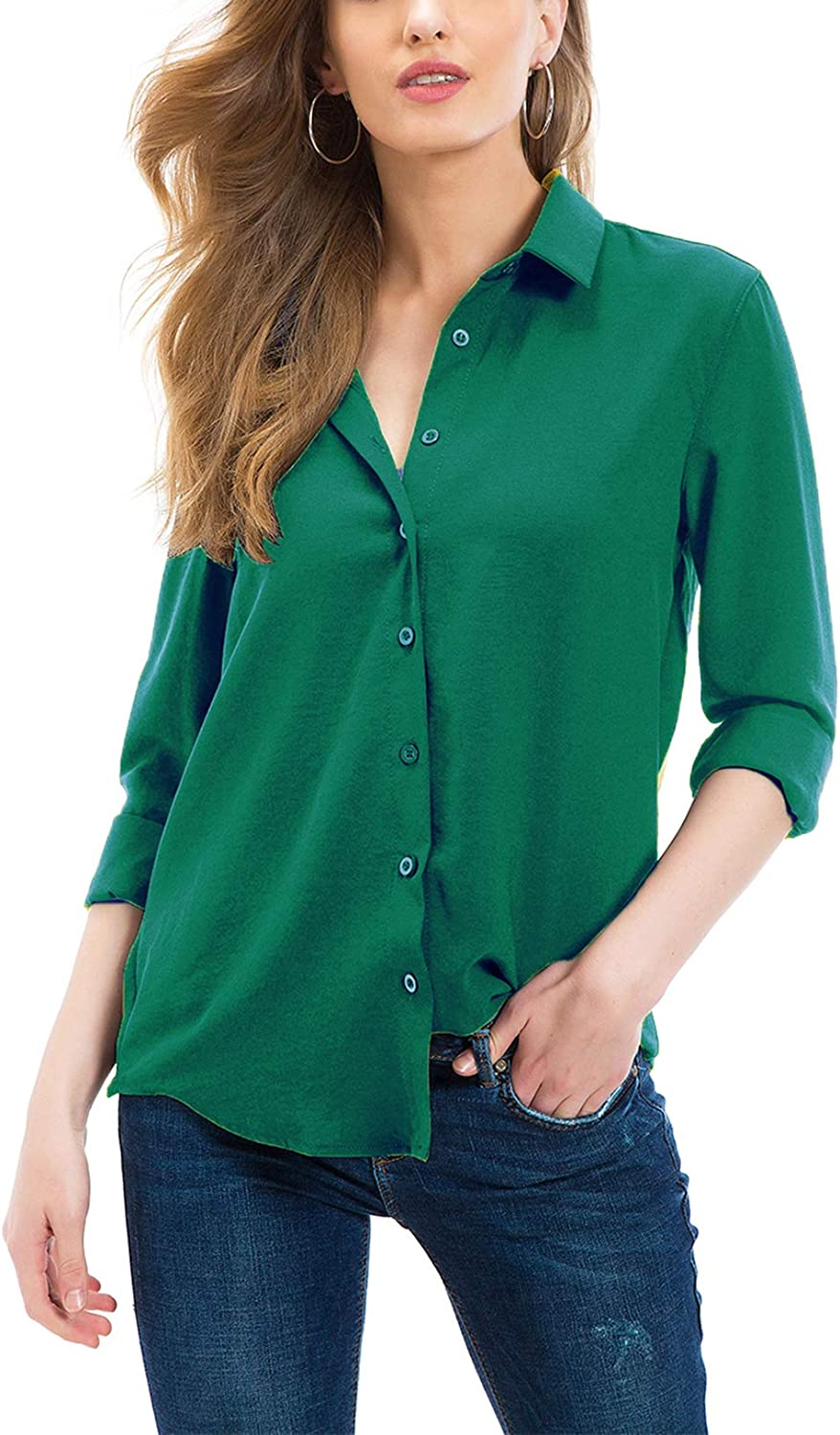 Tsher Button Down Shirts for Women Professional Casual Loose Long Sleeve Button  Blouse Tops 5005…… at Amazon Women's Clothing store