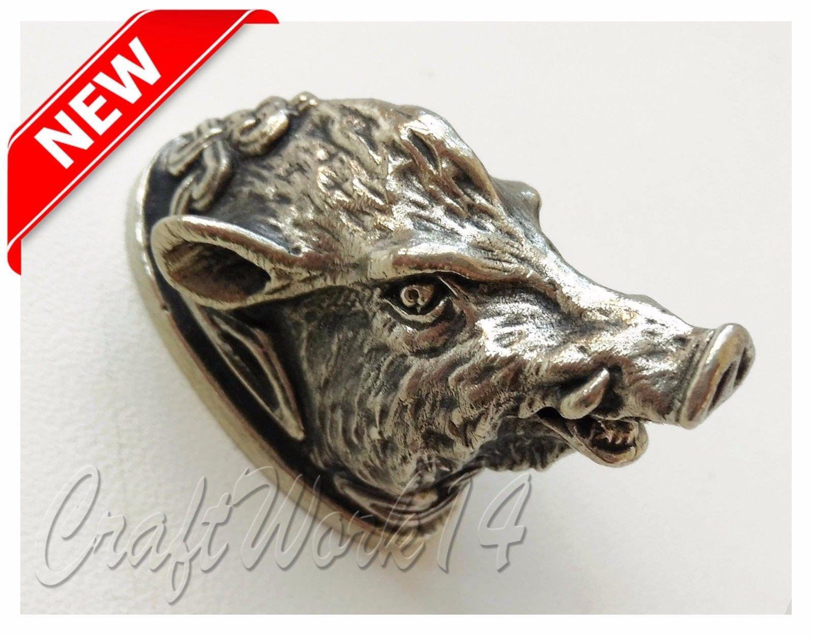 CooB - by Finger Guard & Knives Knife Pommel Bolster Silver/Bronze for Custom Handle Knife Making + Branded Lucky Dice Bead for KNIFE LANYARD, PARACORD BRACELETS in GIFT! (CELTIC WILD BOAR)