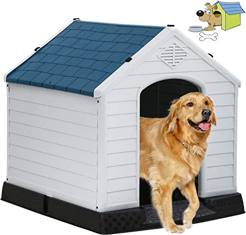 Indoor Outdoor Dog House Big Dog House Plastic Dog Houses for Small Medium Large Dogs 32 Inch High All Weather Dog House with Base Support for Winter Tough Durable House with Air Vents Elevated Floor