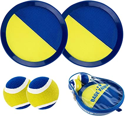 3 Balls and Storage Bag Paddle Toss and Catch Ball Set Paddle Game Set with 4 Paddles Kids Gift Beach Suitable for Sports Blue