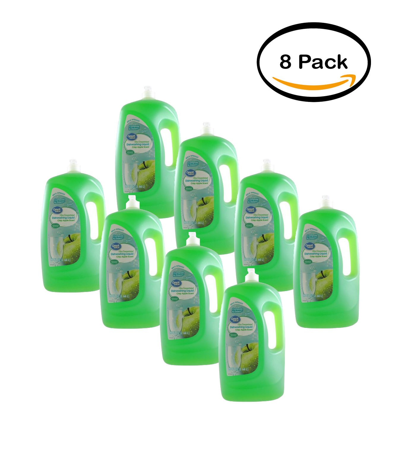 PACK OF 8 - Great Value Ultra Concentrated Dishwashing Liquid, Crisp Apple Scent, 90 oz